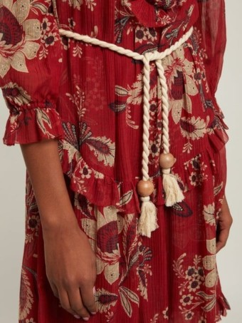 ZIMMERMANN Juno Floral-print Cotton-blend Chiffon Midi Red Dress 5