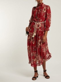 ZIMMERMANN Juno Floral-print Cotton-blend Chiffon Midi Red Dress