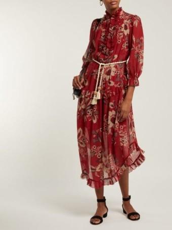 ZIMMERMANN Juno Floral-print Cotton-blend Chiffon Midi Red Dress