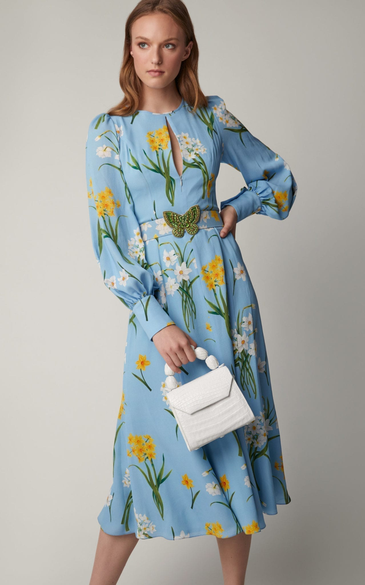 ANDREW GN Floral-Print Silk-Georgette Midi Blue Dress