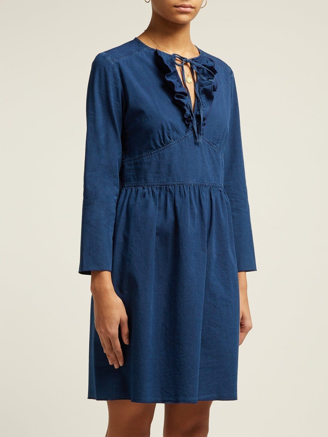 apc poppy cottonchambray indigo blue dress we select