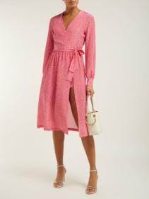 ADRIANA DEGREAS Mille Punti Polka Dot Print Silk Crepe Wrap Pink Dress