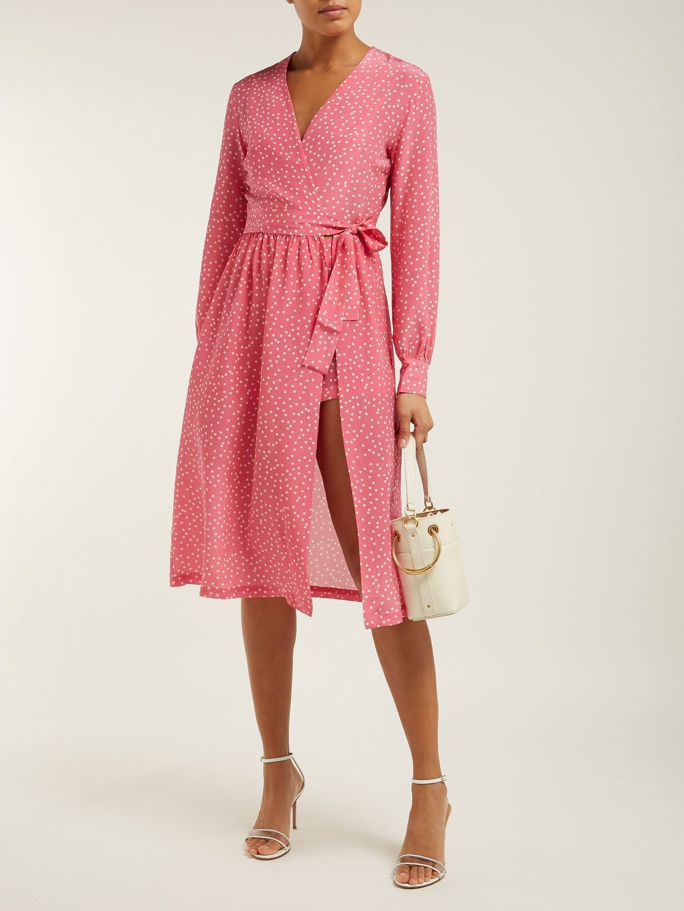 ADRIANA DEGREAS Mille Punti Polka Dot Print Silk Crepe Wrap Pink Dress
