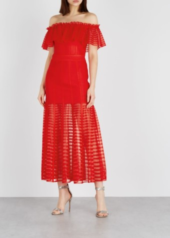 ALEXANDER MCQUEEN Off-the-shoulder Midi Red Dress