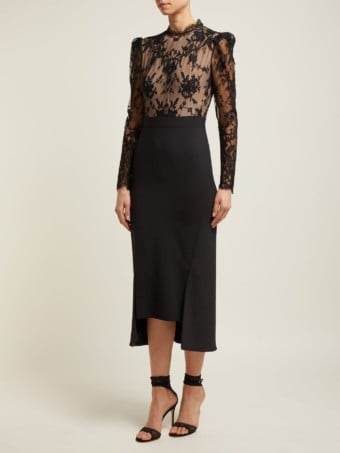 ALEXANDER MCQUEEN Sarabande-lace And Wool-blend Black Dress