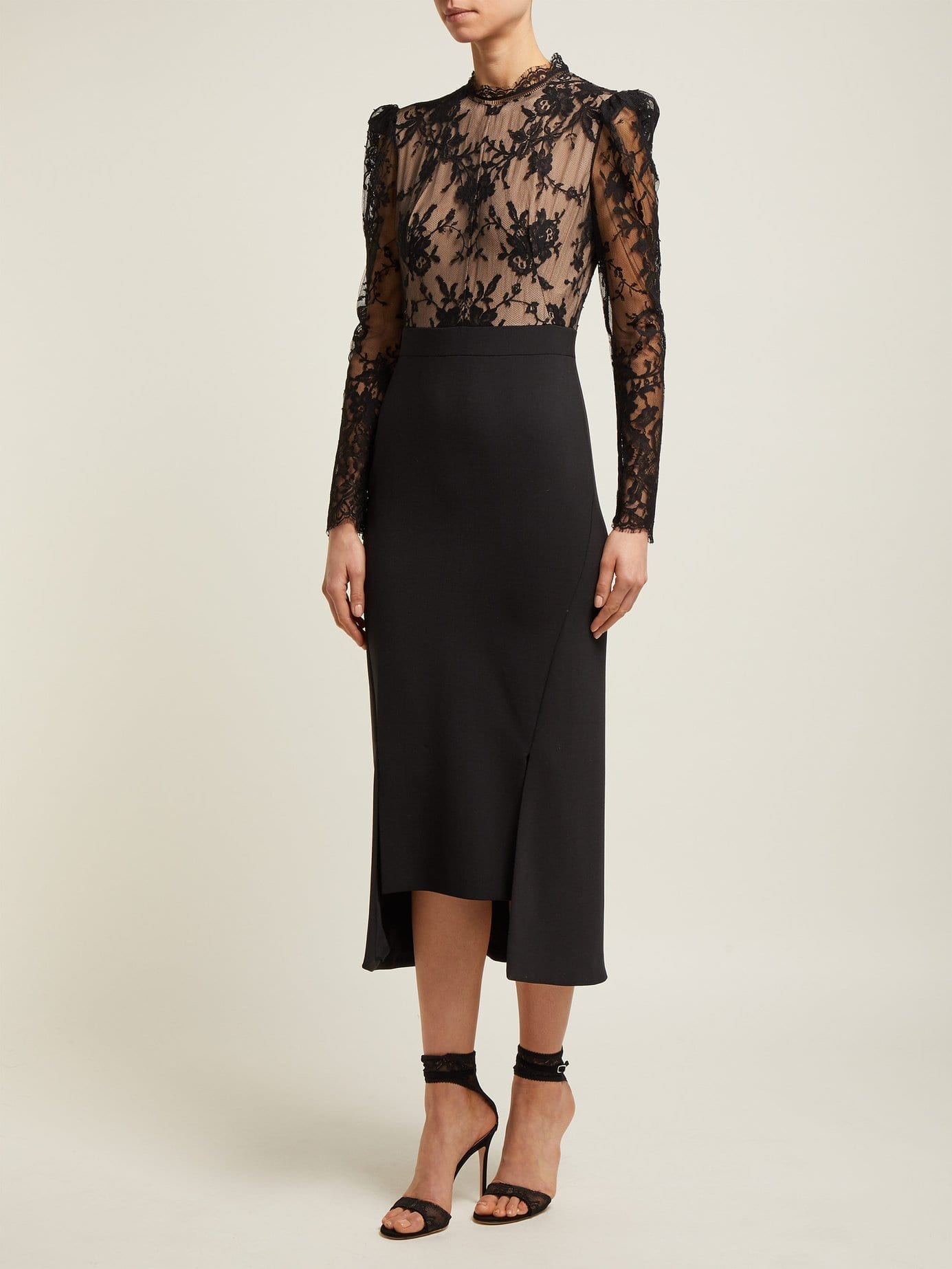 ALEXANDER MCQUEEN Sarabande-lace And Wool-blend Black Dress
