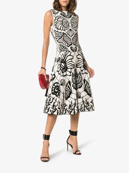ALEXANDER MCQUEEN Shell Print Flared Skirt Midi Ivory Dress
