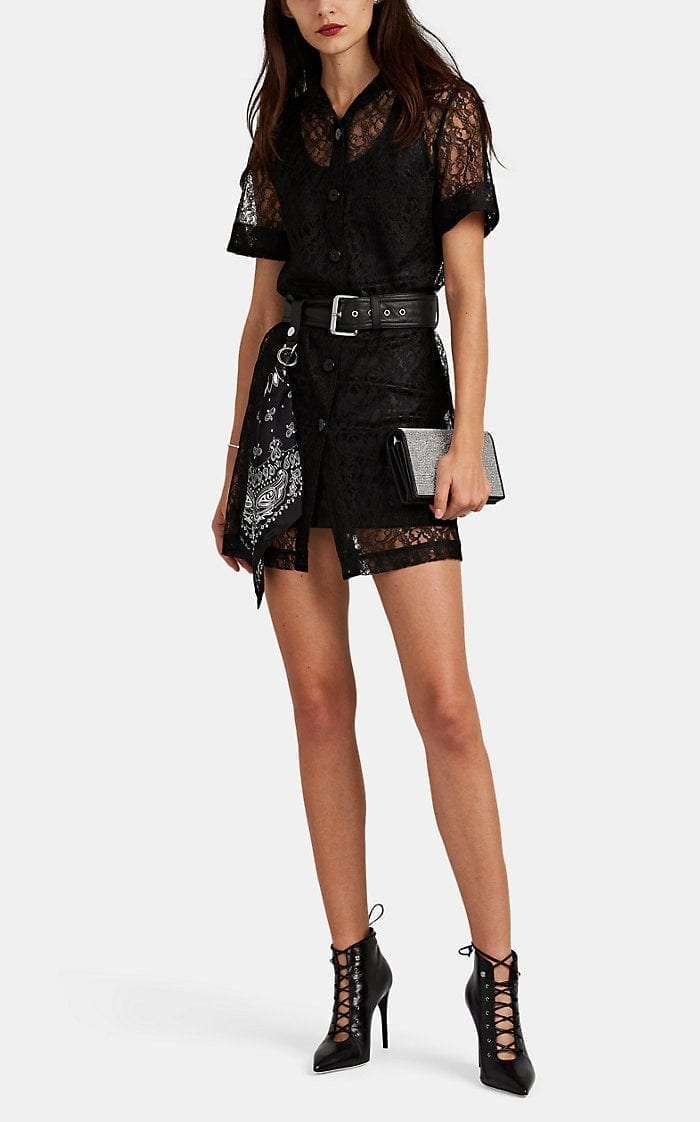 ALEXANDER WANG Belted Floral Lace Shirt Black Dress