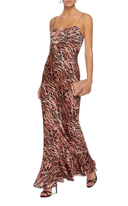 ALONI Mimi Tiger-Print Silk-Satin Slip Brown Dress