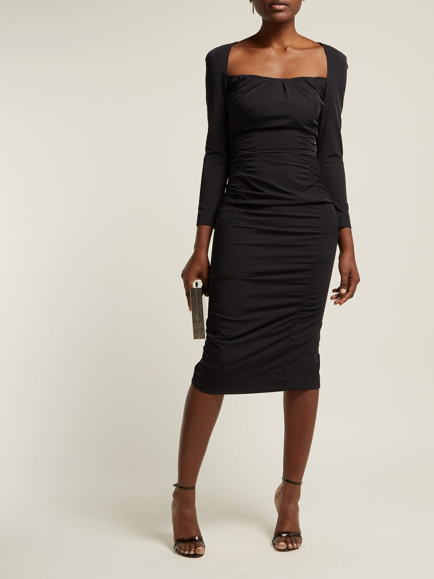 ALTUZARRA Colonia Ruched Stretch-jersey Midi Black Dress