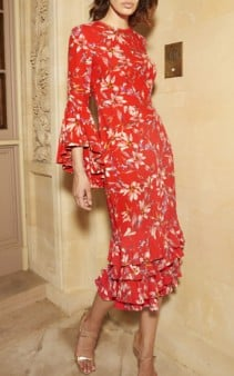 AMUR Alexia Crepe Midi Red / Floral Printed Dress