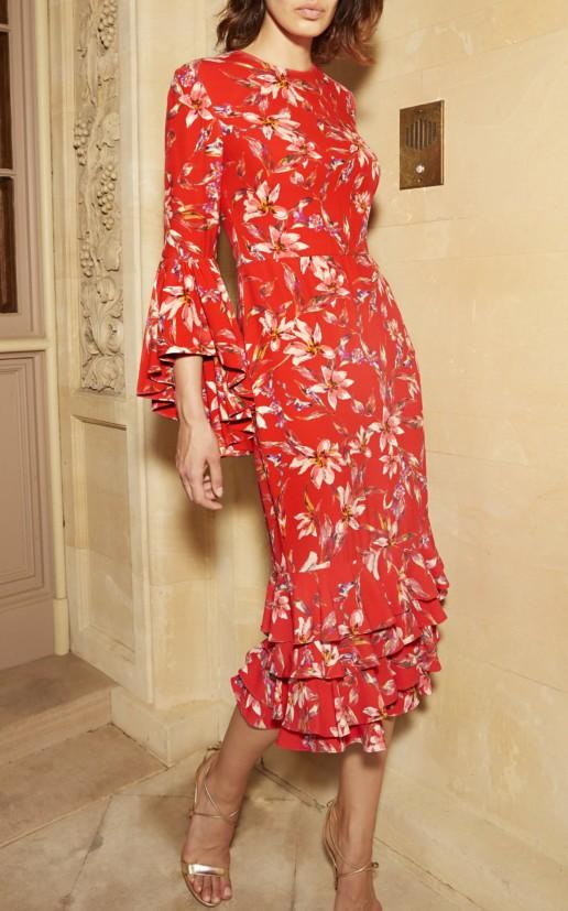 AMUR Alexia Crepe Midi Red / Floral Printed Dress