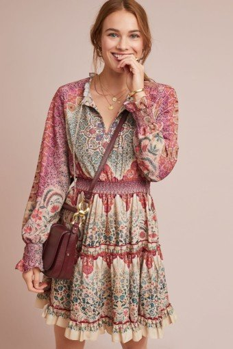 ANTHROPOLOGIE Dakota Peasant Pink Dress