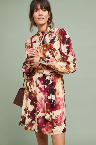 ANTHROPOLOGIE Watercolor Hibiscus Neutral Dress