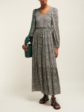 APIECE APART Olivia Shirred Jersey Green / Floral Printed Dress