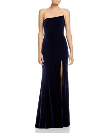 AQUA Asymmetric Strapless Velvet Navy Gown
