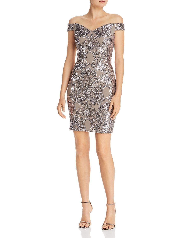 AQUA Embellished Off-the-Shoulder Taupe / Silver Dress
