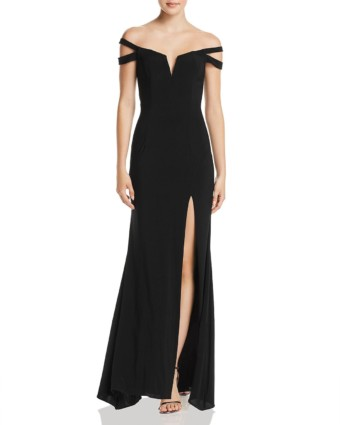 AQUA Off-the-Shoulder Black Gown