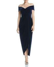AQUA Off-the-Shoulder Velvet Navy Gown