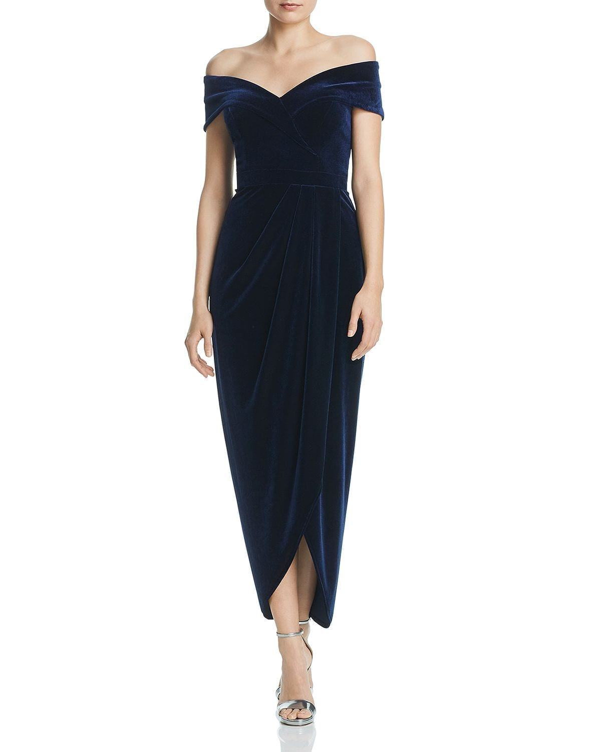 AQUA Off-the-Shoulder Velvet Navy Gown
