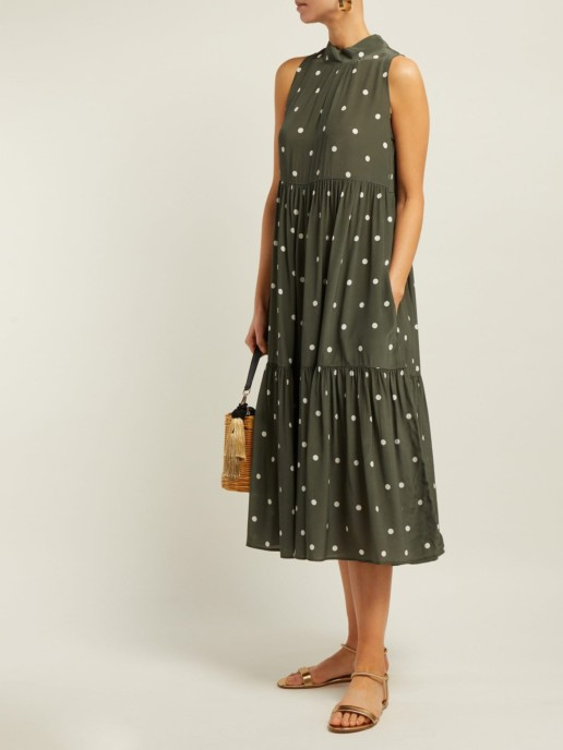 ASCENO Polka-dot Crepe Tiered Midi Khaki Green Dress