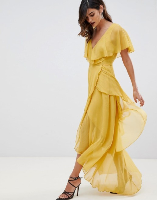 ASOS DESIGN Cape Back And Dipped Hem Maxi Mustard Dress