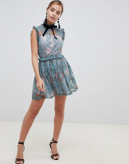 ASOS DESIGN Petite Lace Skater With Velvet Tie Neck Mini Multicolored Dress