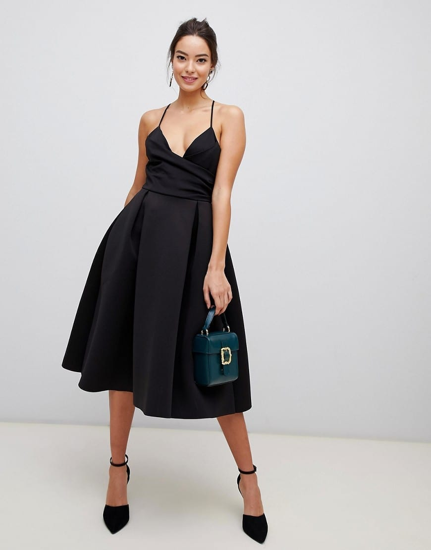 ASOS DESIGN Scuba Cami Prom Midi Black Dress