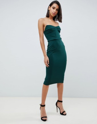 ASOS DESIGN Seamed Bandeau Midi Bodycon Green Dress