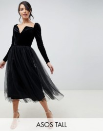 ASOS DESIGN Tall Velvet Tulle Midi Black Dress