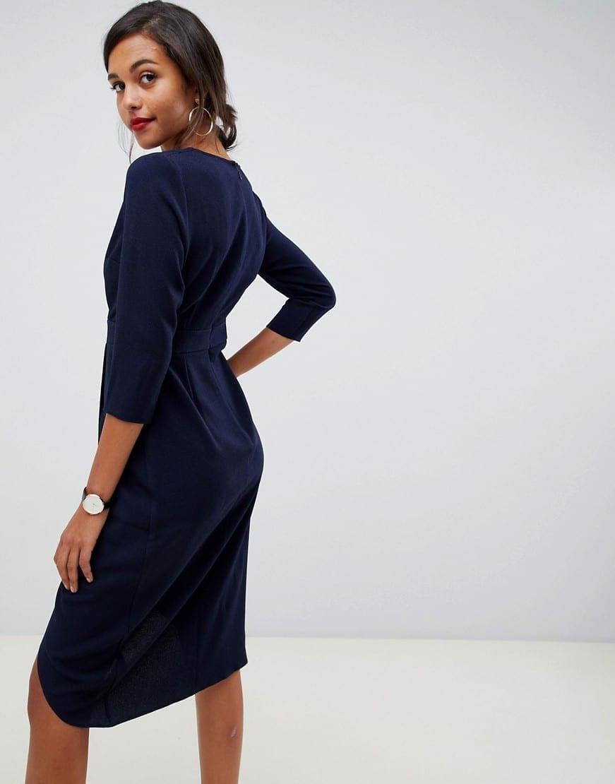 e904bac5c3 ASOS DESIGN Wrap Skirt Crossover Front Midi Navy Dress - We Select ...