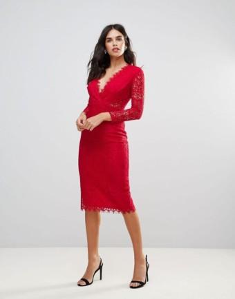 ASOS Long Sleeve Lace Midi Pencil Hot Red Dress
