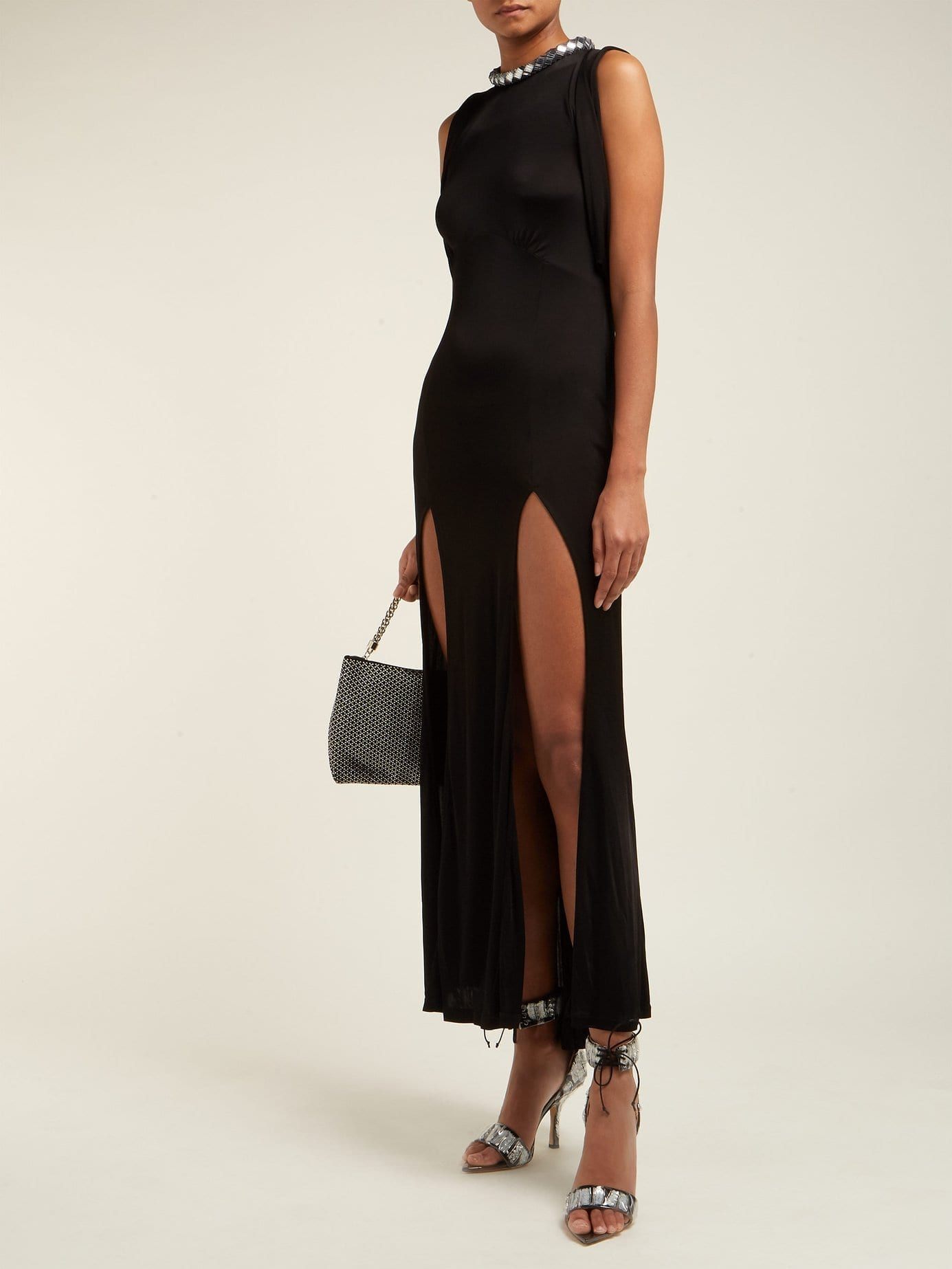 ATTICO Sequinned Slit-front Satin Black Dress