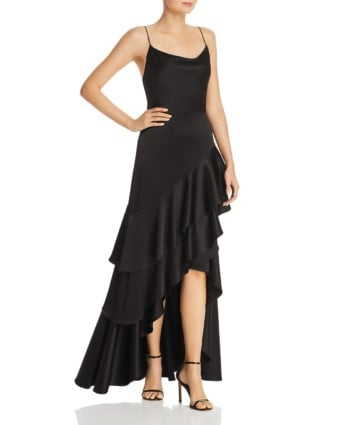 AVERY G Satin Ruffled Black Gown