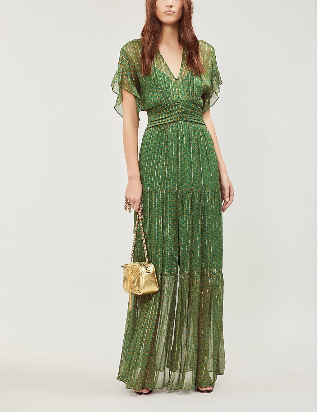 BA&SH Wanda Metallic Georgette Maxi Green Dress