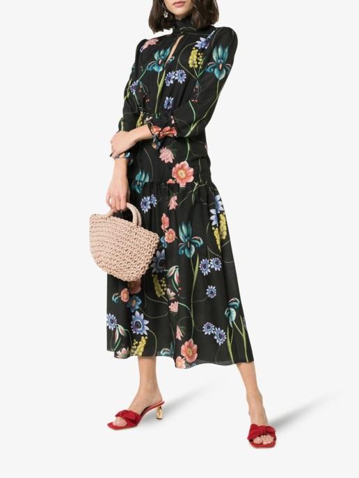 BORGO DE NOR Eugenia Keyhole Black / Floral Printed Dress