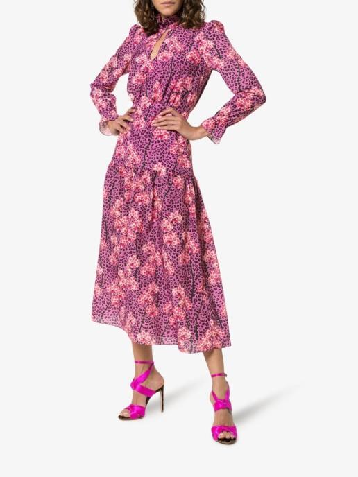 BORGO DE NOR Eugenia Leopard Orchid Print Midi Purple Dress