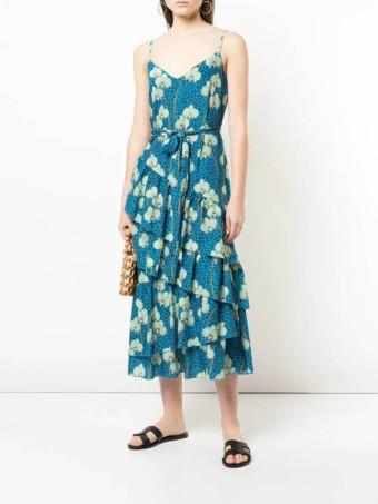 BORGO DE NOR Mixed Print Midi Blue Dress