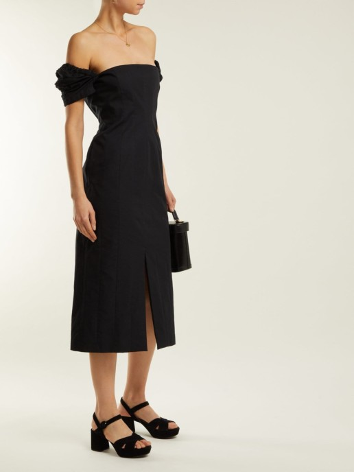 BROCK COLLECTION Odilia Off-the-shoulder Cotton Midi Black Dress