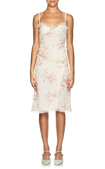 BROCK COLLECTION Osanna Floral Silk Midi Cream / Floral Printed Dress