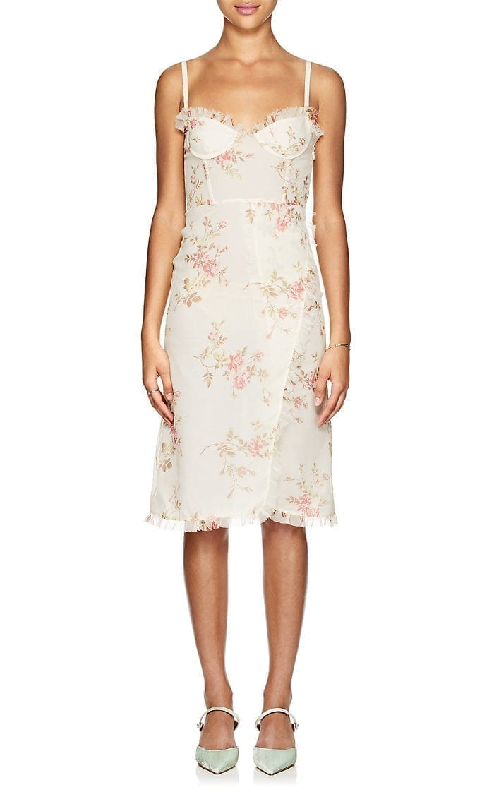 BROCK COLLECTION Osanna Floral Silk Midi Cream / Floral Printed Dress