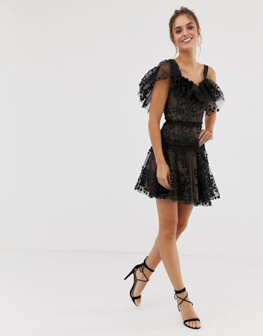 BRONX AND BANCO Layla Ruffle Mini Black Dress