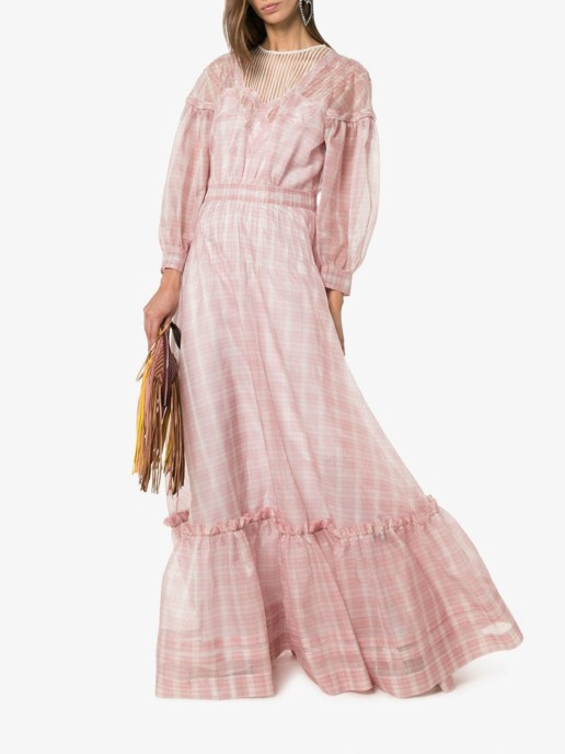 CALVIN KLEIN 205W39NYC Check Print Silk Pink Gown
