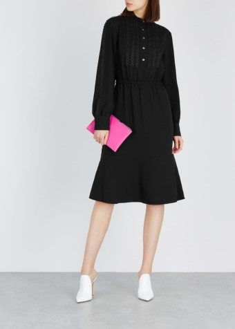CALVIN KLEIN Lace-trimmed Twill Black Dress