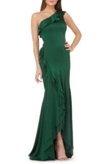 CARMEN MARC VALVO INFUSION One-Shoulder Satin Evening Green Dress
