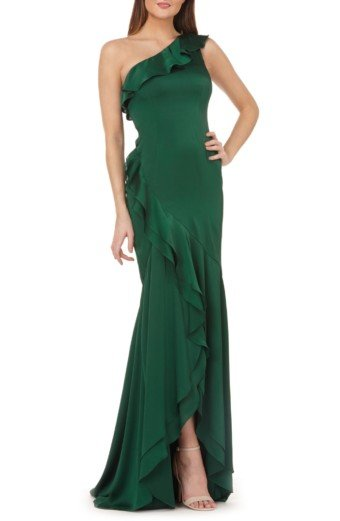 CARMEN MARC VALVO INFUSION One-Shoulder Satin Evening Green Dress