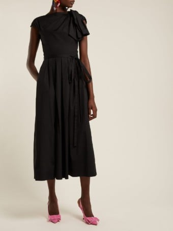 CAROLINA HERRERA Knot-Sleeve Cotton-blend Poplin Midi Black Dress
