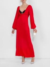 CHRISTOPHER KANE Lace Bra Long Red Dress