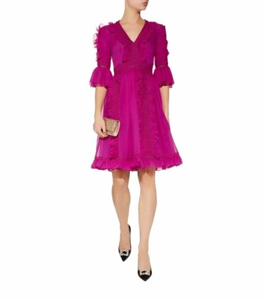 COSTARELLOS Guipure Trim V-Neck Pink Dress