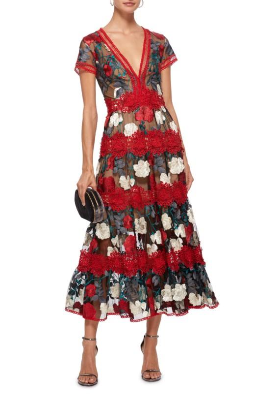 COSTARELLOS Mesh Embroidered Tulle Midi Multicolored Dress